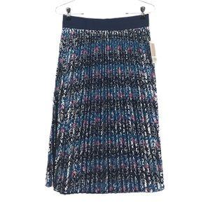 LuLaRoe Blue Silver Metallic Jill Midi Skirt